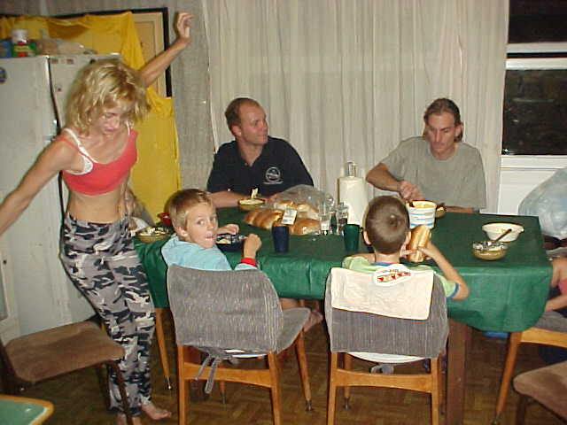 Charmaine (just standing up) and Cameron joined for a big family dinner.