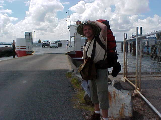 World traveller is ready to board the ferry towards Stradbroke Island. Wanna come along?