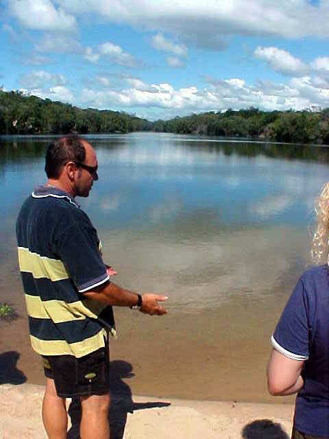 Barry explains how the poisonous toads ruin any life in this lake and how the minerals make life hard too.