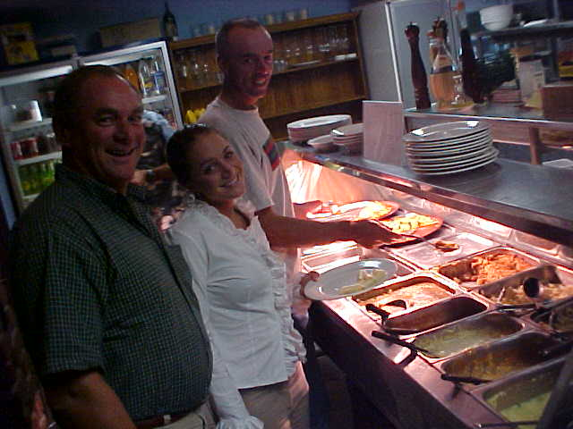 At the buffet of the Italian restaurant in Point Lookout, where I joined Alan and Alicia Carter for dinner.