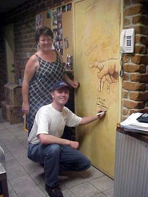 Ooh! Joanna even let me sign the Door of Fame in her restaurant.