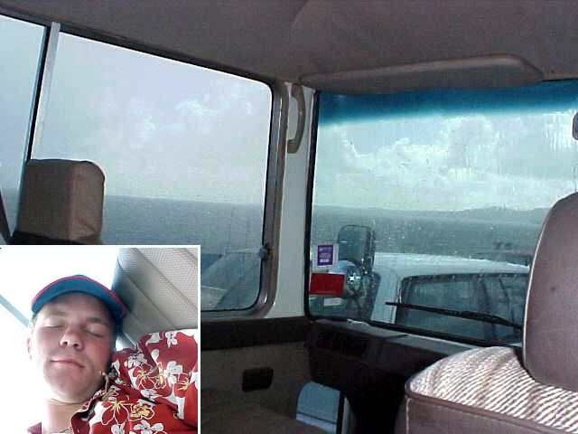 In the bus, on the ferry back to the mainland. Rainy outside, sleepy inside.