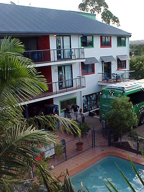 A shot from the green part of the hostel.