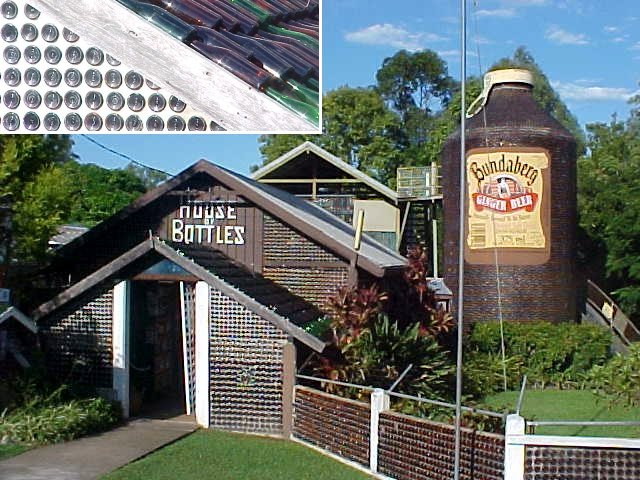 I had to see the one and only tourist attraction of Noosa (of which Noosa people are not really proud of): the Bottle House. Entirely made of wine bottles. Would the owner be an alcoholic?