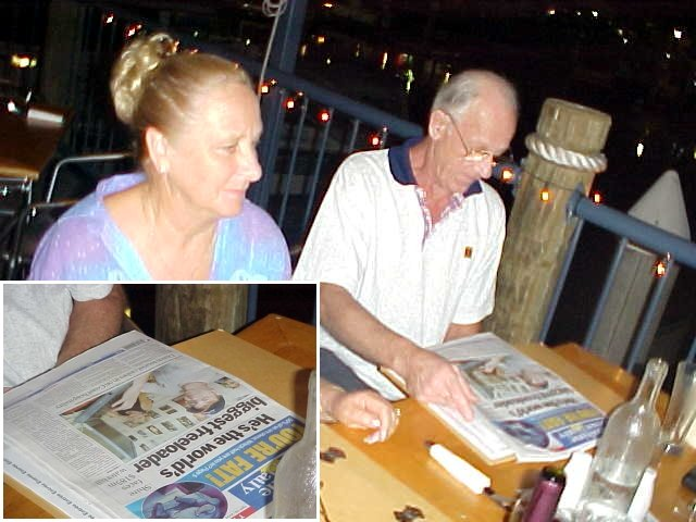 Dinner happened to be at the local wharf, were I met up with the parents of Glen and Steph. What is that man reading?