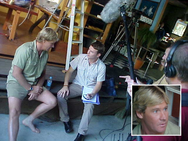 Steve Irwin in the studio, being interviewed by Ben.