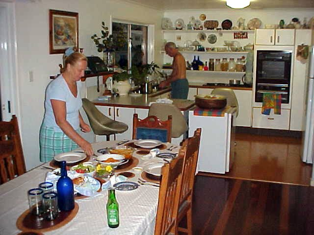 Marilyn and Max prepare tonights dinner. Glen had arranged I could stay with them tonight.