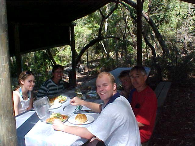 Feeling as a newborn baby I joined the Tandoori Chicken lunch at the Lake McKenzie picnic spot.