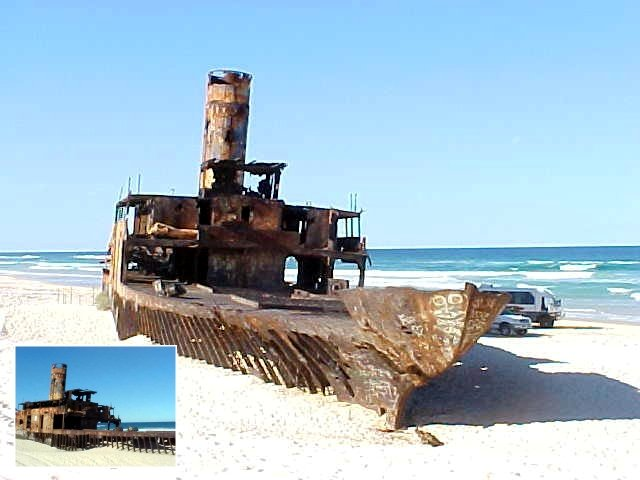 On our way back to Noosa we passed the Cherry Venture. This ship was driven aground in 1973.