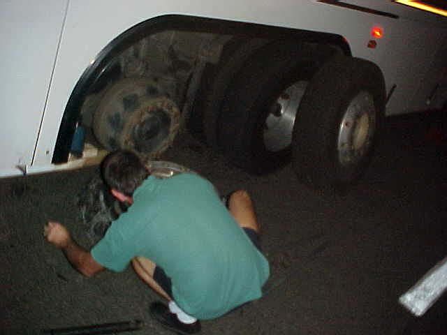 My first experience with A Greyhound bus in Australia, and of course I end up in a bus with a flat tire, haha! But it was close to Bundaberg already, and the folks there would come and pick me up at the wreck...
