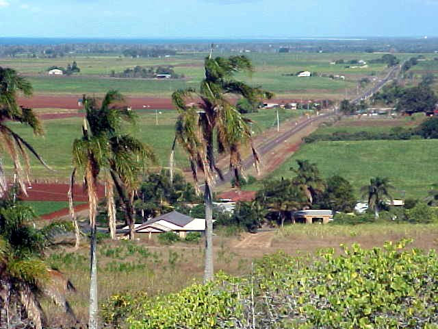 As seen from a hill top in Bundaberg, the highway up north...