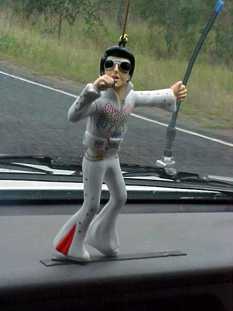 And Elvy was swinging along on the dashboard!