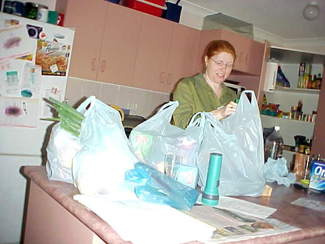 At home in Rockhampton, Patricia Smith unpack her groceries.