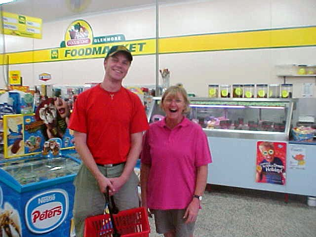 At the local supermarket of Foodmarket, where the manager Gwen was overwhelmed by my venture and appearance in her shop!