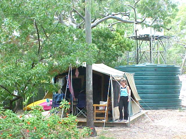 One of the luxury tents on the village grounds. It looks like an ordinary camping tent, but inside is a double bed complete with furniture.