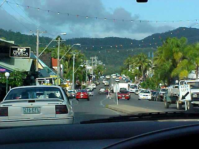 Entering Airlie Beach, lovely place, but looking at all the people it almost looked like LONDON! British backpackers everywhere!
