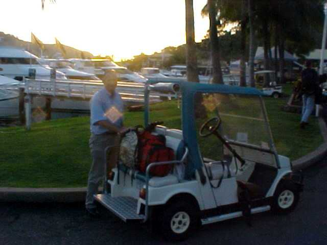 Chris Roche picks me up when I arrive on the island. Lets get on board the buggy!