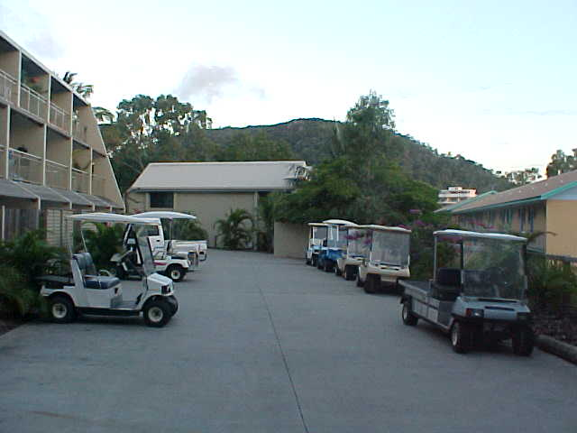 Isnt that funny, the only way of transport on this island are these little golfcart buggies!