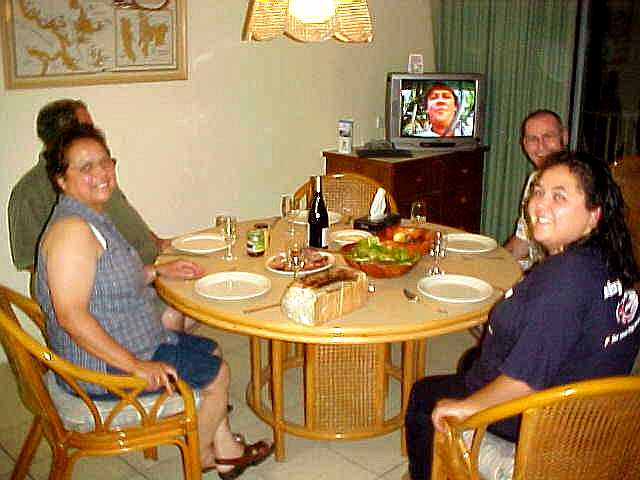 Ready to join Marilyn and Chris and her French parents for dinner. Guess who is on TV?