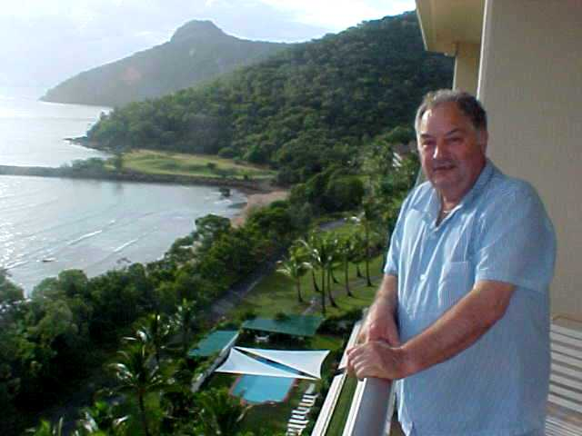 Marilyns father enjoys the view from the Whitsundays apartment.