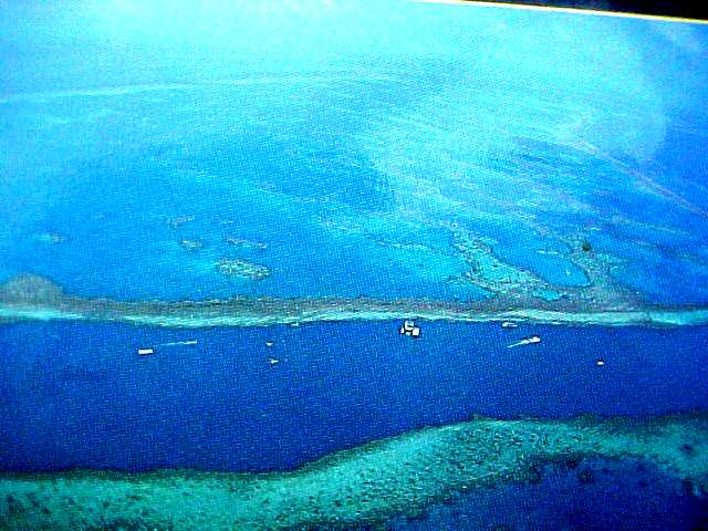 Just about yesterdays reef-ride: the ReefWorld pontoon as seen from above. That is where I swam around....