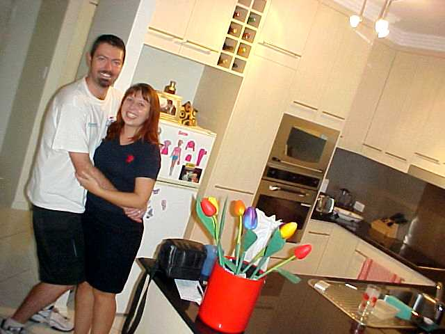 Happy together, Darren and Adele at their home.