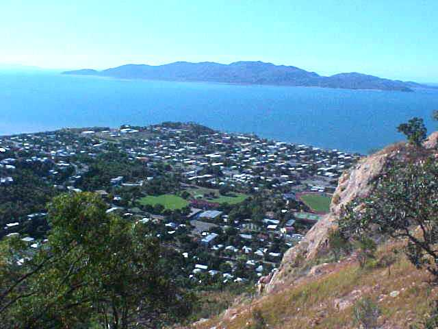 Townsville central, with Magnetic Island in the ocean...