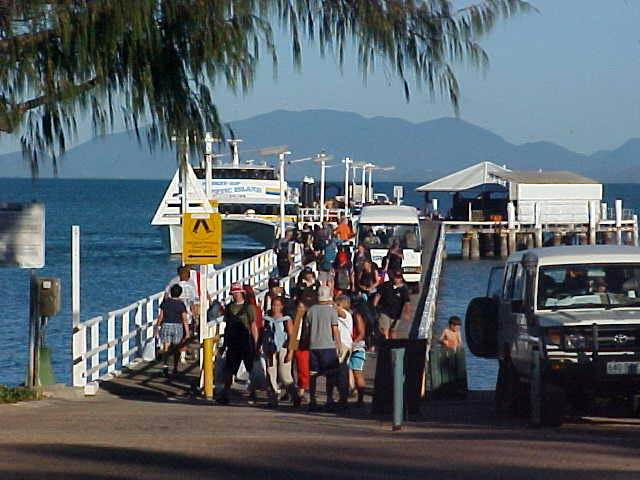 The ferry (left in the back) dropped all the passengers at the pier in Picnic Bay - one of the few towns on the