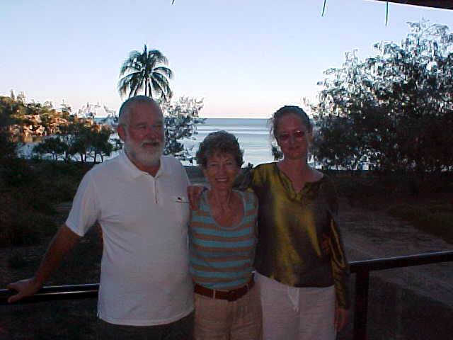 And their home is the only house in Arthur Bay (on the background). On the photo Norm, Val and Julie.