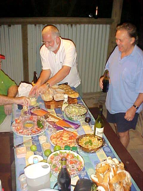 Everybody took along a dish of food (salads, seafood, breads). Beer anyone?