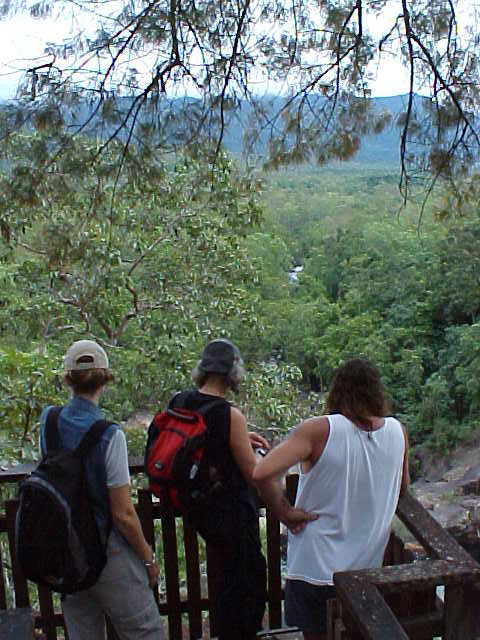 Ingrid, Mark and Geoff at a lookout.