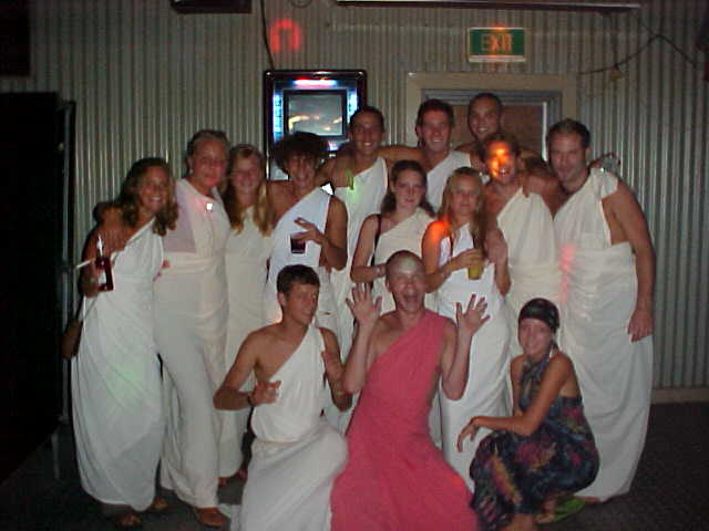 At the Toga Party of this night, where I won the limbo competition and was called King Toga - maybe it was because of my pink toga? That is all I say about this, I deny the rest.