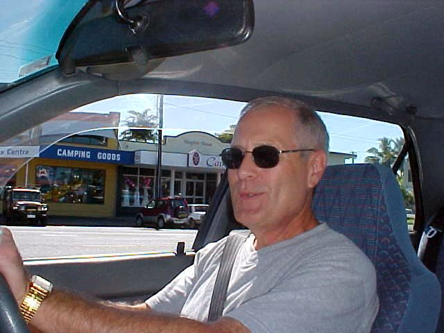 Tom Spence in his car after picking me up in Cairns.
