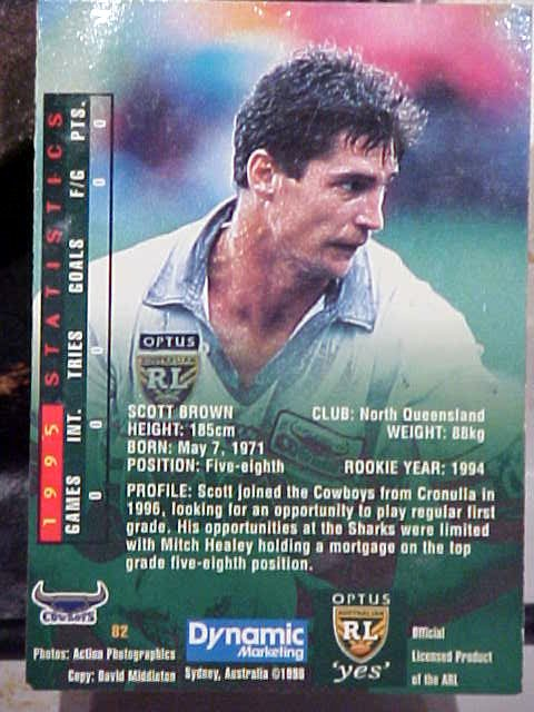 Hehe, Scott isnt that proud of it, but Sharyn told me Scott used to be in the Aussie Rugby League. He even has a collection card printed, which he didnt know about!