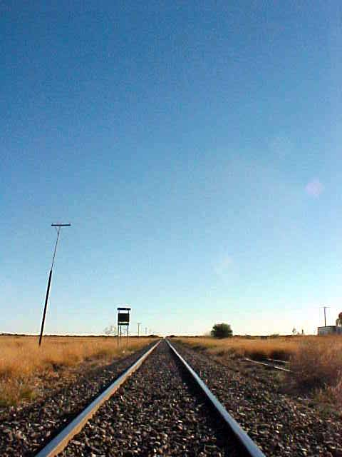 From the bus stop I walked a bit to this rail track in Julia Creek. It is a straight line and goes on for kilometres!