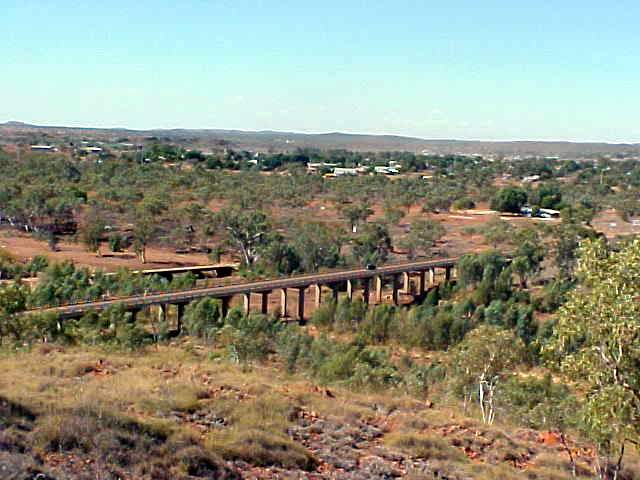 Cloncurry (and the dry Cloncurry River) as seen from a lookout point.