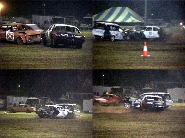 Alan drives the police-like car in the demolition derby. Believe me, they made some noisy bangs!