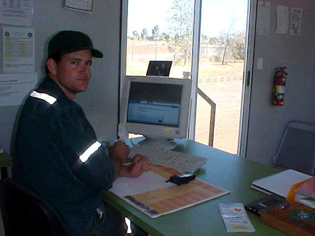 In his office trailer, in the middle of Cloncurry s dust, Shawn gets online to check his email.