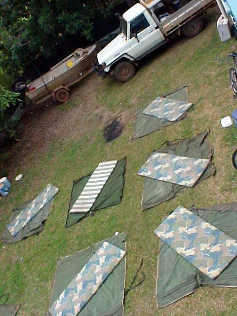 The backgarden at the home of the Aussie Overlanders... Aussie swags are spread out to air and be fresh for tomorrows safari.