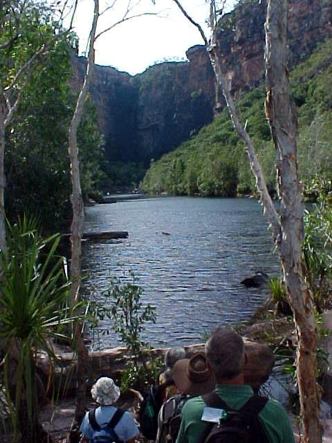 What a great sight this was. This is the Jim Jim Falls. In the wet season you will see the water crash down in the distance.