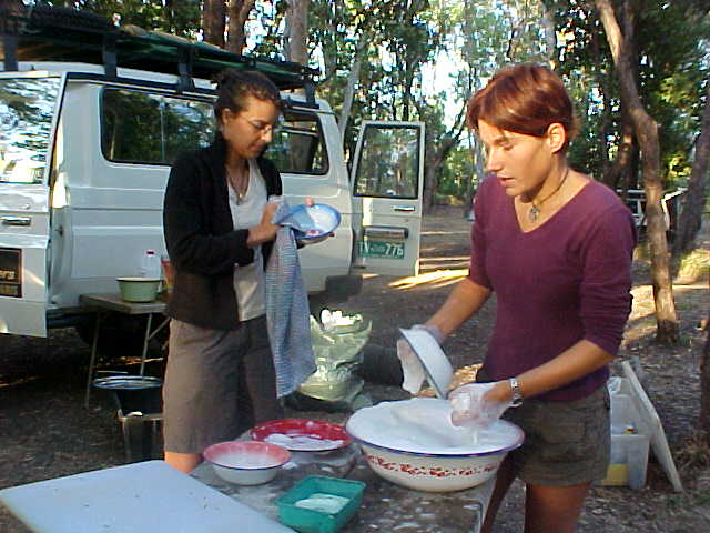 Camping is like being at home a bit anyway: the dishes have to be done anyway!
