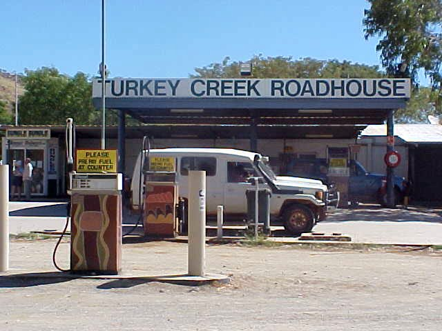 We had a stop at the Turkey Creek Roadhouse, situated in the middle of an Aboriginal community. Just look at the gas pumps.