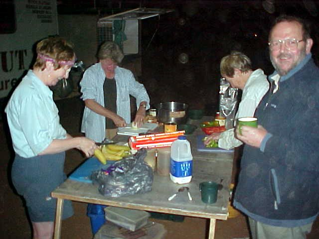 Everybody helps in with the preparation of tonights dinner.