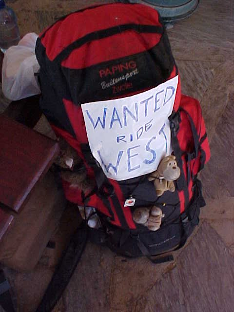 I stuck this sign on my backpack and hung around near the entrance of the roadhouse shop.