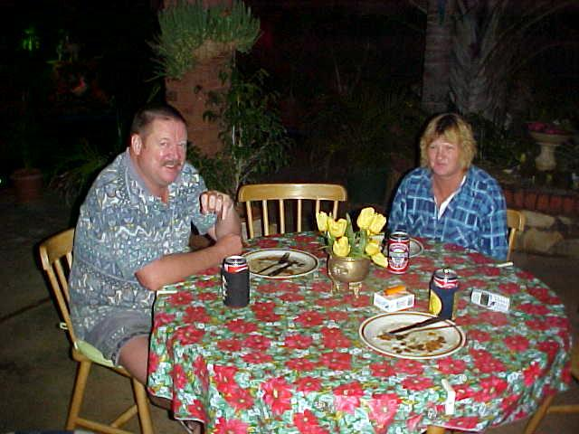 Geoff and his wife Debby after a delicious beefy evening tea.