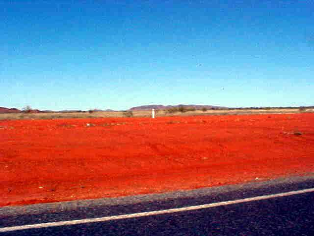 The road from Karratha to Dampier is.... coloured...