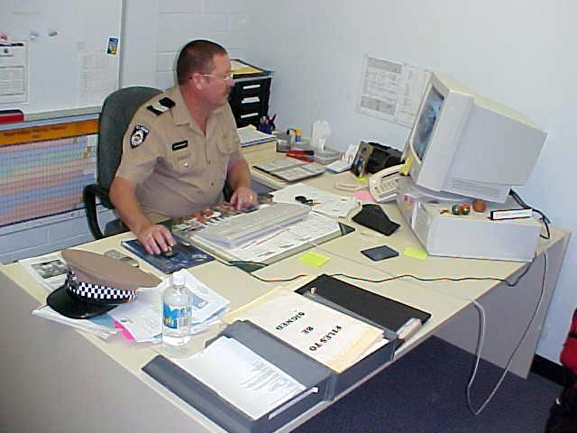 Staff Officer Geoff Reynolds at work at the Karratha Police Station.