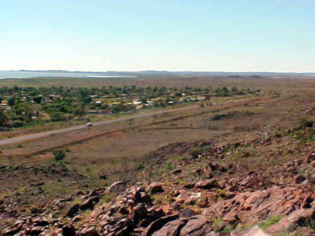 He took me for a ride and this was my view from the nearby lookout. Karratha is that green part...