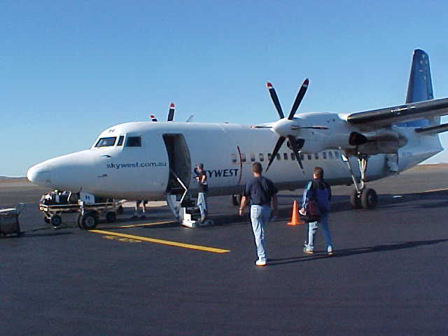 At the domestic airport in Karratha, my Fokker 50 is ready for departure.