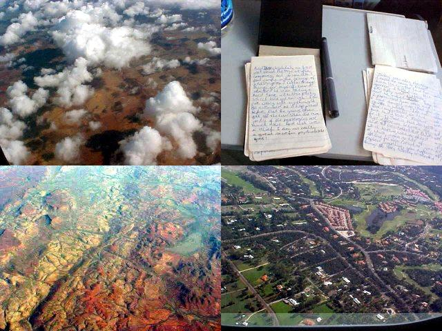 And more eyesights from the plane. First rocky brown, than the clouds and suddenly there were the green land strips of Perth. And I had some time to do some writing.